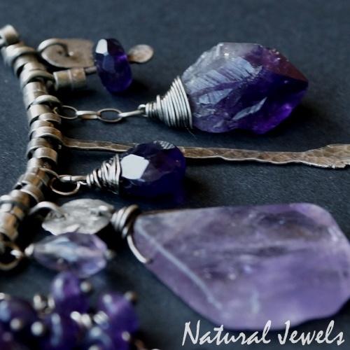Handgemaakte zilveren halsketting Ametist