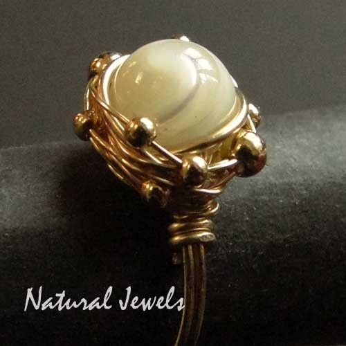 Ring PIMPED Golden Mother of Pearl