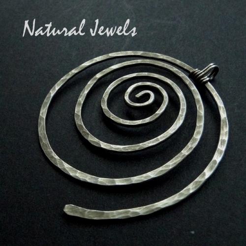 Pendant Big Silver Spiral