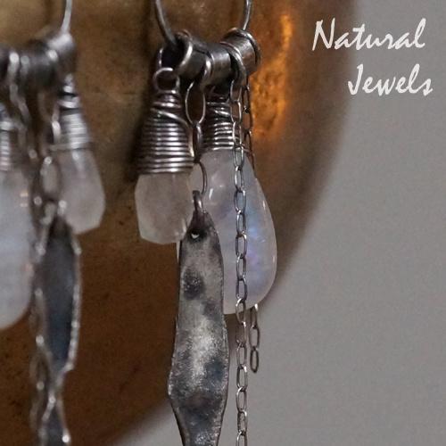 Maansteen zilveren robuuste oorbellen