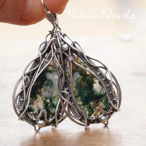 Zilveren oorbellen Adorned Moss Agate