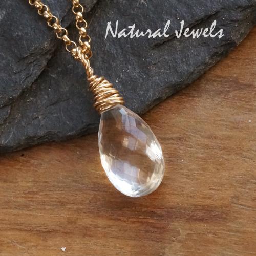 Gouden edelsteenhanger AAA Bergkristal