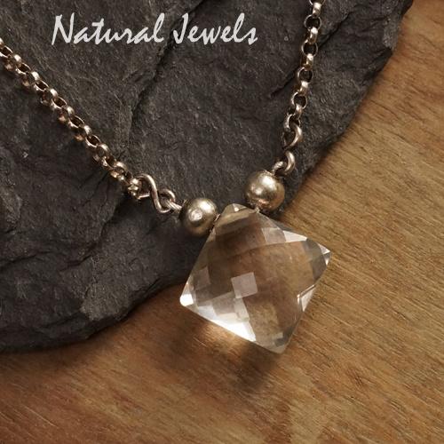 Zilveren halsketting Bergkristal diamond