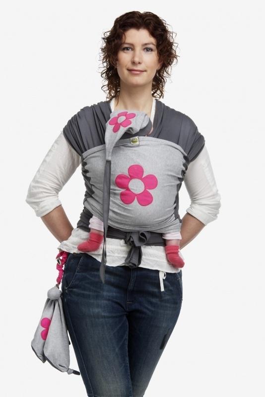 ByKay Design tricot draagdoek met Fuchsia bloem