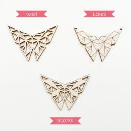 Origami vlinder ketting lines