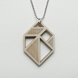 Tangram edelsteen/diamant ketting stripes