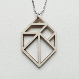 Tangram edelsteen/diamant ketting open