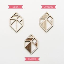 Tangram edelsteen/diamant ketting blocks