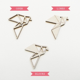 Origami duif ketting open