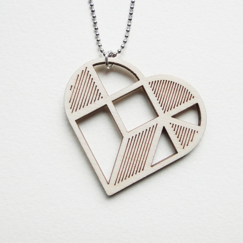 Tangram hart ketting stripes