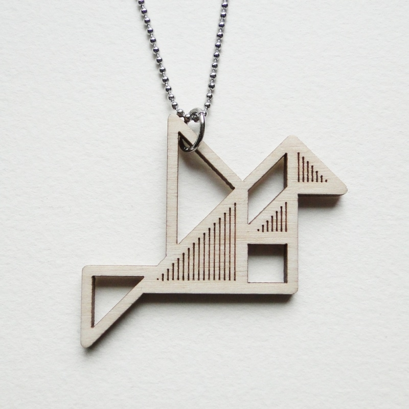 Tangram vogel ketting stripes