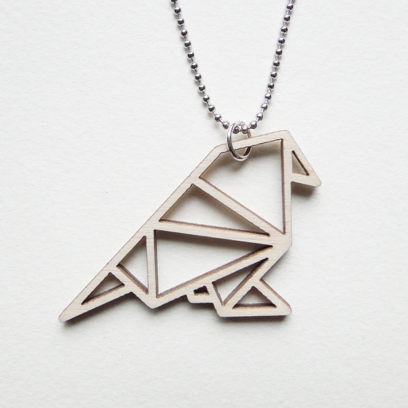 Origami mus ketting open
