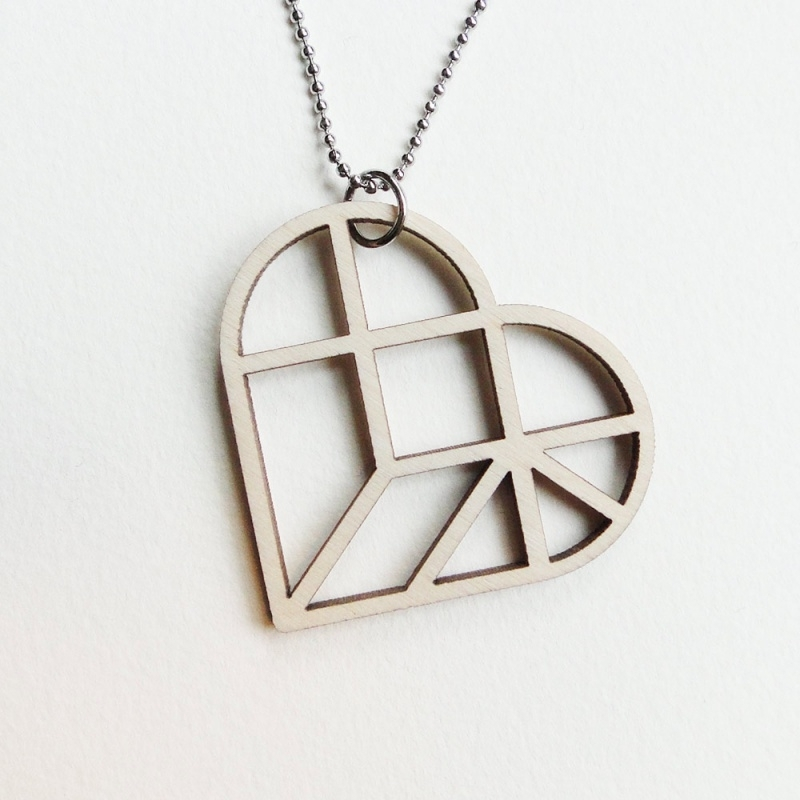 Tangram hart ketting open