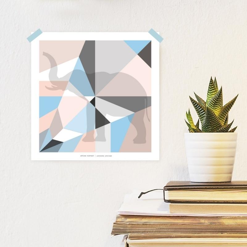 Origami artprint olifant