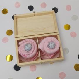 Houten theedoos | cupcake roze