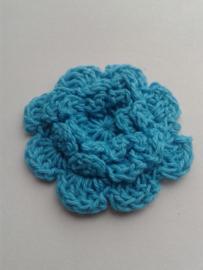Gehaakte bloem | 3cm turquoise