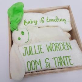 Houten giftbox tutpopje lime groen | Hoera, jullie worden oom en tante!