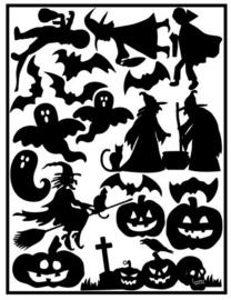 Herbruikbare statische raamfolie | Aanvul set Halloween