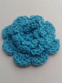 Gehaakte bloem | 4,5cm turquoise