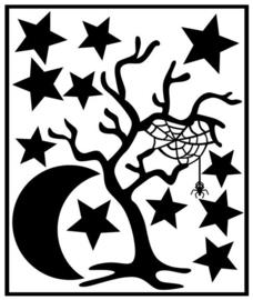 Herbruikbare statische raamfolie | Boom-sterren-maan Halloween