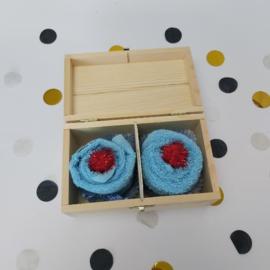Houten theedoos | cupcake blauw | oom en tante