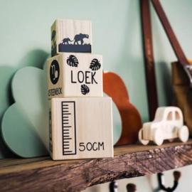 Houten blokken | Geboorte toren jungle