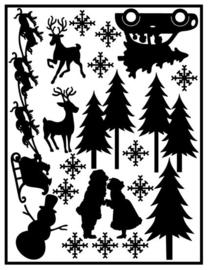 Herbruikbare statische raamfolie   Aanvul set Kerst