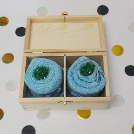 Houten theedoos | cupcake blauw