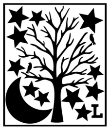 Herbruikbare statische raamfolie | Boom-sterren-maan L
