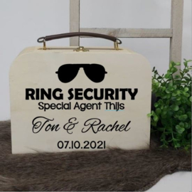 Houten koffertje   Ring security zonnebril