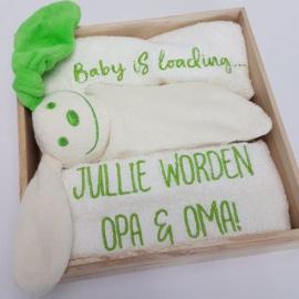 Houten giftbox tutpopje lime groen | Hoera, jullie worden opa en oma!