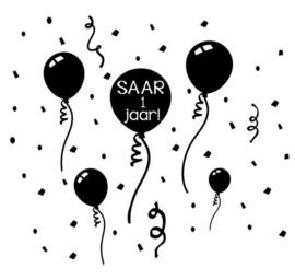 Raamsticker | Ballonnen met naam en leeftijd
