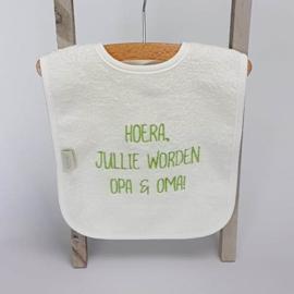 Houten giftbox tutpopje lime groen   Hoera, jullie worden opa en oma!