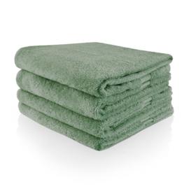 Handdoek geborduurd met naam   stone green