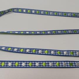 Lint 10mm | blauw stip | 5 meter