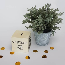 Houten spaarpot (8,5x8,5x8,5cm)