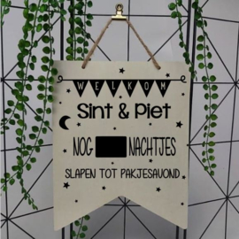 Houten vaantje | Welkom Sint en Piet, nachtjes slapen tot pakjesavond