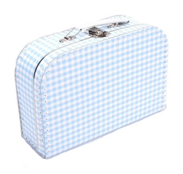 Kinderkoffertje blauw ruit met naam