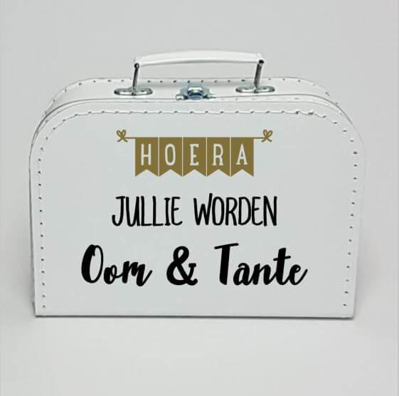 Kinderkoffertje wit | Hoera jullie worden Oom en Tante