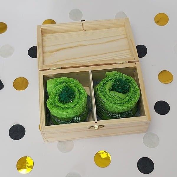 Houten theedoos | cupcake groen
