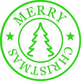 raamsticker stempel merry christmas met kerstboom