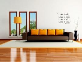 muursticker:Love is old ,Loves is new van The Beatles
