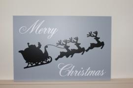 Tekst bord met afbeelding Merry Christmas + arreslee