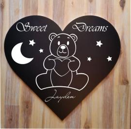 Tekstbord ( Hart vorm ) Sweet Dreams