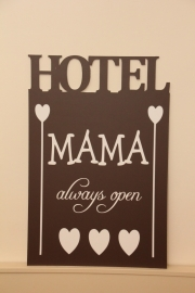 Tekstbord: Hotel Mama de luxe