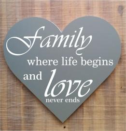 Tekstbord ( Hart vorm ) Family  where life begins ........