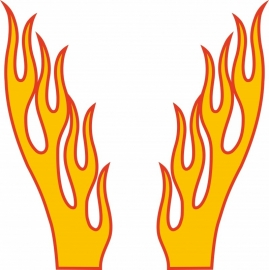 vlam voor motorkap per set