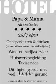 tekstbord : HOTEL Papa & Mama de luxe