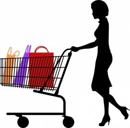 B12-072 vrouw met winkelwagen zonder tassen prijs vanaf