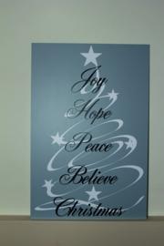 Tekst bord met afbeelding joy,hope,peace